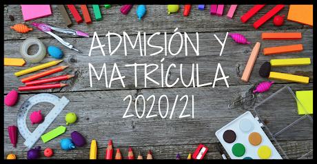 Información sobre Matriculación Curso 2020-21