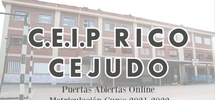 Jornadas de Puertas Abiertas Online – CEIP RICO CEJUDO 2021